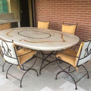 Tavolo in pietra naturale. Outdoor - Garden House Lazzerini, Made in Italy