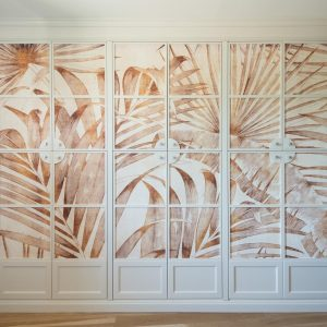 Solid wood wardrobe with wallpaper