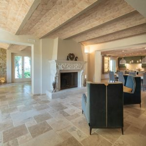 Natural stone fireplace with inlay