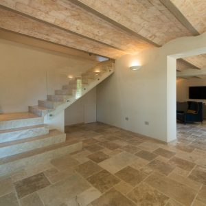 Travertine design staircase. Natural stone made in Italy