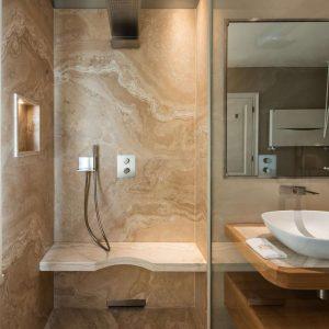 Shower enclosure, classic style bathroom, precious natural materials, GH Lazzerini
