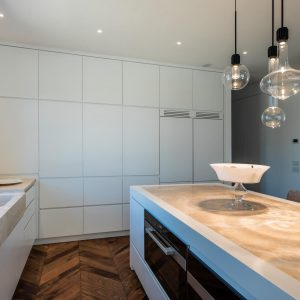 Modern style kitchen, clean lines and minimal design